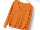 春秋开衫针织衫女外搭保暖坑条毛衣短款厚外