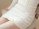 2014秋冬新款热卖百搭高腰波浪边钉珠包臀白色短裙毛呢半身裙89