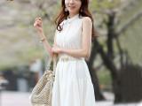 代理加盟夏季新款韩国雪纺拼接欧根纱蕾丝无袖白色背心裙子连衣裙
