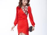 2014春季新款女装蕾丝连衣裙长袖雪纺女裙V领修身显瘦包臀打底裙