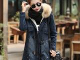 6318#牛仔棉衣2014冬装新款韩版女装潮加厚中长款真毛领棉服