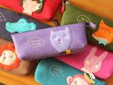 M1316 韩版卡通动物毛毡笔袋 卡通收纳袋 乖乖猫文具袋动物笔袋31