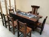 老船木茶桌 2米长厚板茶台 办公室茶几
