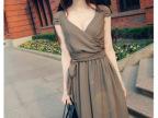 2014新款夏性感深V包肩波西米亚沙滩长裙 显瘦雪纺连衣裙仙029