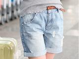 2014夏装新款韩版破洞浅色马裤宽松牛仔中裤五分牛仔裤女