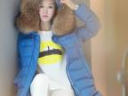 2014冬装新款韩版羽绒服女超大毛领貉子毛修身中长款女士羽绒服女