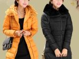 2013女装秋冬外套 中长款韩版修身显瘦兔毛领羽绒服厂家批发