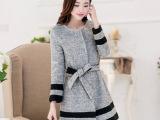 2014秋冬新款女装中长款修身外套圆领暗扣羊毛呢子大衣