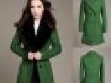 厂家 2012新款秋冬季羊毛大衣女毛呢外套兔毛领修身毛呢大衣长款