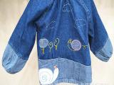 厂家直销韩版婴幼儿童外套宝宝牛仔罩衣反穿衣吃饭衣兜兜褂围衣