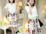 2014夏新款巴洛克复古印花连衣裙V领衬衣两件套雪纺中长款裙子
