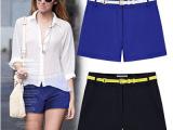 2014夏季韩版热卖新款显瘦休闲短裤子热裤蓝色黑色短裤