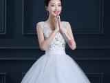 批发2015韩版新款婚纱礼服 新娘结婚双肩复古蕾丝一字肩婚纱62