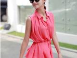 韩版夏季新款 超亮珍珠纽扣 衬衣领无袖衬衫 两色
