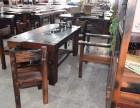 老船木茶桌椅组合客厅茶台实木功夫茶几榆木中式仿古阳台茶艺桌
