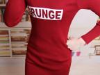 时尚新品娃娃领针织衫字母长袖修身显瘦韩版打底衫包臀毛线衣