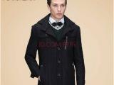 海澜之家剪标正品 男士中长款修身羊毛呢大衣HOVD3k014