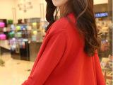 2014新装秋款韩版气质简约纯色萝莉A字斗篷套头针织开衫毛衣