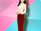 2015秋冬韩国新款毛呢半身裙长款高腰气质修身女装针织开叉包臀裙