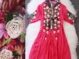 中国元素艺术绣花印花抽褶中袖连衣裙
