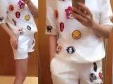 2014新款夜店时尚欧根纱拼接可爱图案上衣+短裤休闲套装6551
