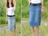 夏季新修身牛仔中长裙牛仔裙包臀半身裙 单排扣开叉牛仔中裙