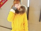 2013冬装新款韩版女装 温暖毛南瓜黄系带棉服 棉衣(超大真貉子