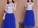 高档青花瓷绣花 2014夏新款韩版修身蓝色连衣裙 长裙