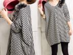 金鹊来2014春装打底衫韩版宽松大码t恤条纹长袖蝙蝠衫长款t恤女装