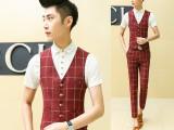 2015韩版男士夏季新款气质修身时尚格子小马甲套装潮 型男必备