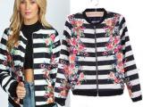 AS*OS  欧美秋季新款女装批发 条纹花朵定位印花夹克 外套