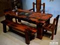 朝阳市老船木茶桌椅子仿古茶台实木沙发茶几餐桌办公桌家具博古架