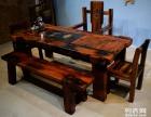 衡水市老船木茶桌椅子仿古茶台实木沙发茶几餐桌办公桌家具博古架