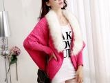 韩国风2014秋季新款貉子毛领蝙蝠袖毛衣OL针织衫开衫外套