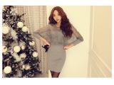 2014韩国dabagirl优雅迷人蝙蝠袖蕾丝拼接裹胸针织修身连