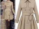 欧美明星款女装时尚高腰双排扣系带风衣外套