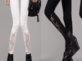 新品春装女裤 韩版新款修身显瘦镂空蕾丝打底裤潮外穿裤一件代发