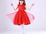 2015新款高档儿童礼服公主裙 红色婚纱蓬蓬裙 女童演出服定制