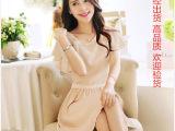 2014夏装新款新品 波浪荷叶袖韩版女装优雅修身连衣裙