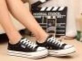 新款女帆布鞋 情侣帆布鞋 纯色系带低帮鞋 女帆布鞋批发 韩版潮鞋