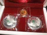 大连市回收金银套币,中签百年好合金银币,麒麟送子银币收购