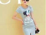 欧洲站夏季中长款包臀修身短袖连衣裙前开叉纯棉裙子