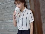 欧佩妮2015夏季新品女式衬衫韩版修身短袖衬衣上衣纯色雪纺衬衫女