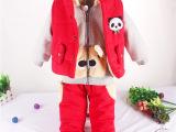 冬季新款新品童装 韩版儿童卡通熊猫卫衣三件套儿童套装 厂家直销