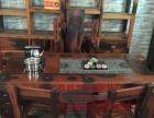 凉山市老船木家具茶桌椅子沙发茶台茶几办公桌餐桌鱼缸置物架案台