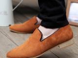厂家直销新款男欧版真皮商务休闲男鞋驾车鞋英伦尖头懒人磨砂皮鞋