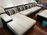 準備退房便宜出套奶白色可拆洗布藝沙發