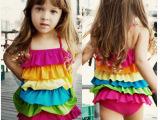 儿童泳装六层荷叶连体女童泳衣彩虹宝宝泳衣