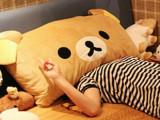 可爱轻松小熊抱枕靠垫 轻松熊阿狸单人枕/双人枕头超长条-可拆洗