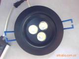 供应时尚黑色大功率LED 3W天花灯 7CM开孔 黑色天花灯 L